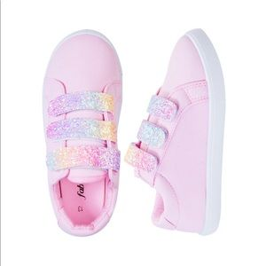 FabKids Girls' Multi Glitter Strap Sneaker - 12